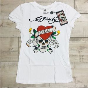 NWT Ed Hardy women's white shirt in medium